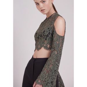 Keepsake Porcelain Flare Sleeve Lace Crop Top